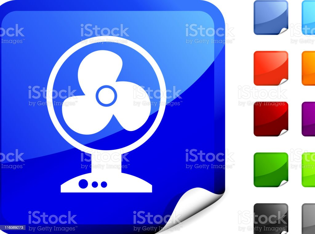 Square Sticker Button With Fan Icon royalty-free stock vector art