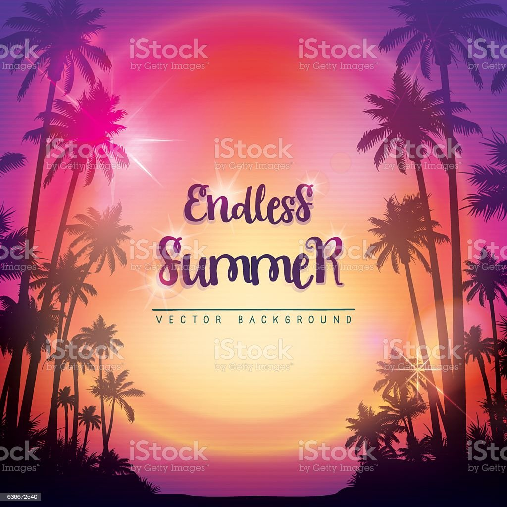 Square summer background with palms vector art illustration