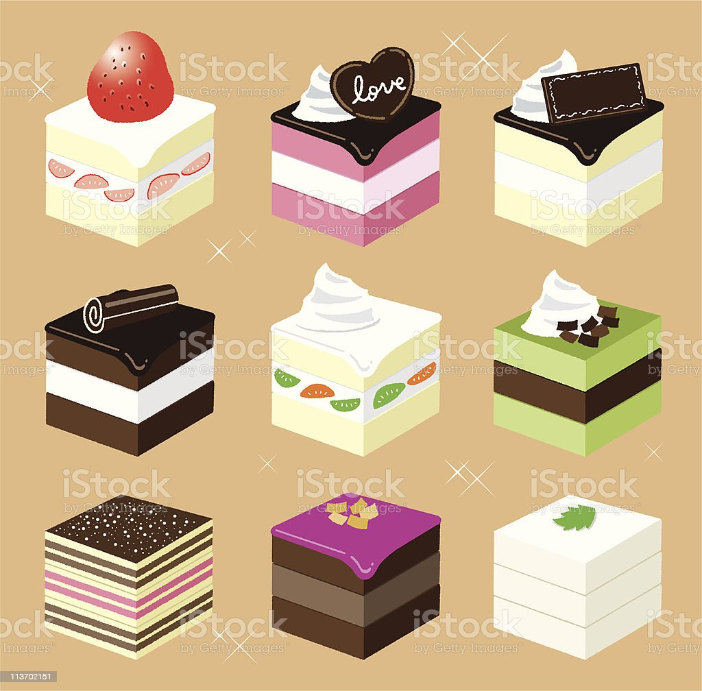 Square sweets vector art illustration