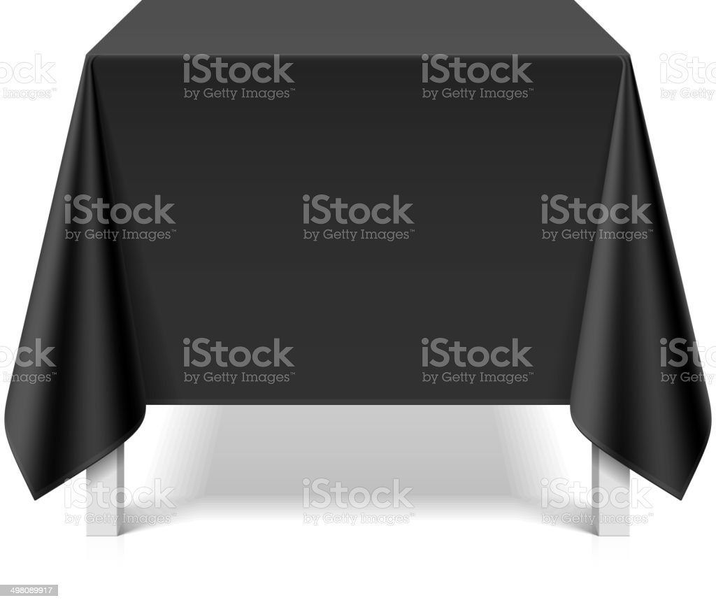 Square table covered with black tablecloth vector art illustration