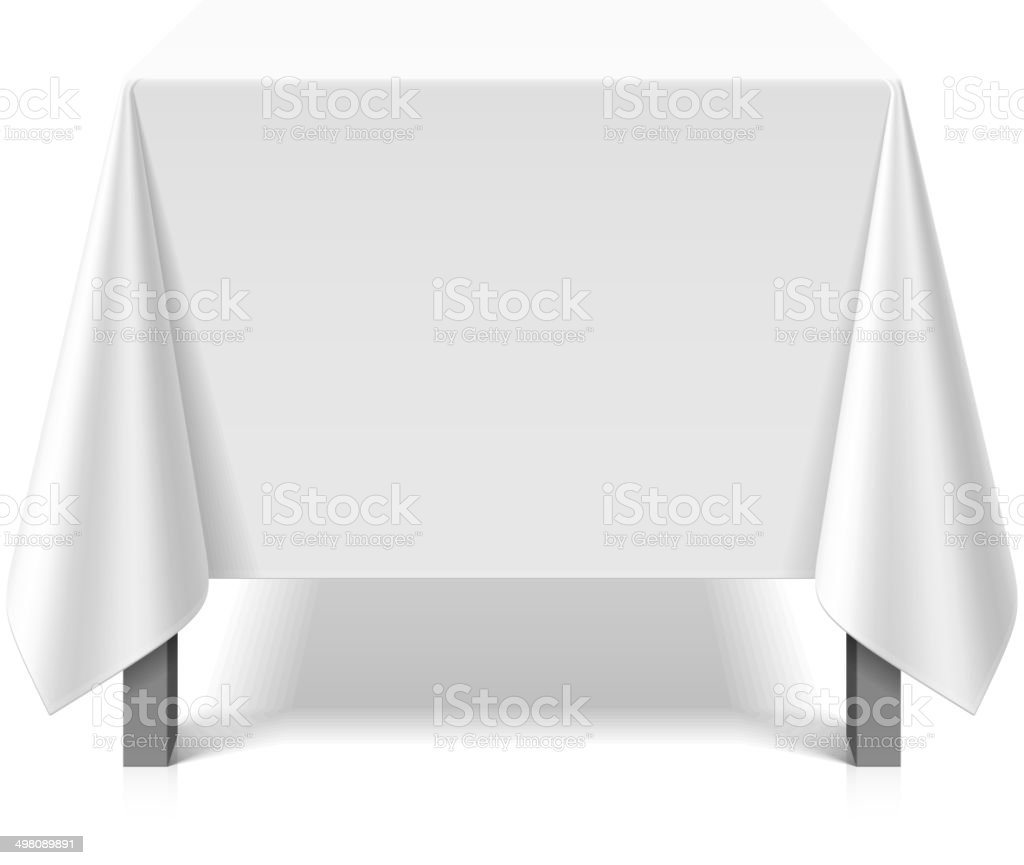Square table covered with white tablecloth vector art illustration