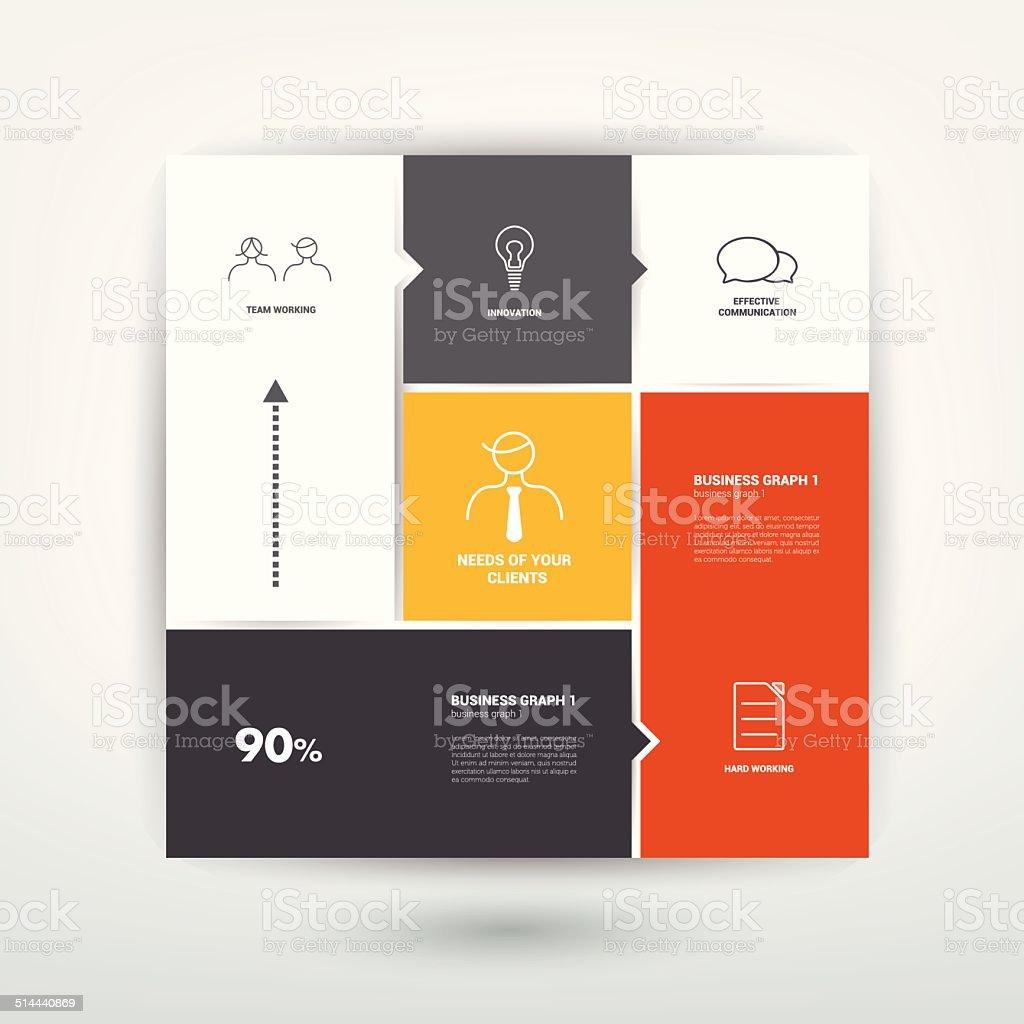 Square template diagram. Flat vector tab. vector art illustration