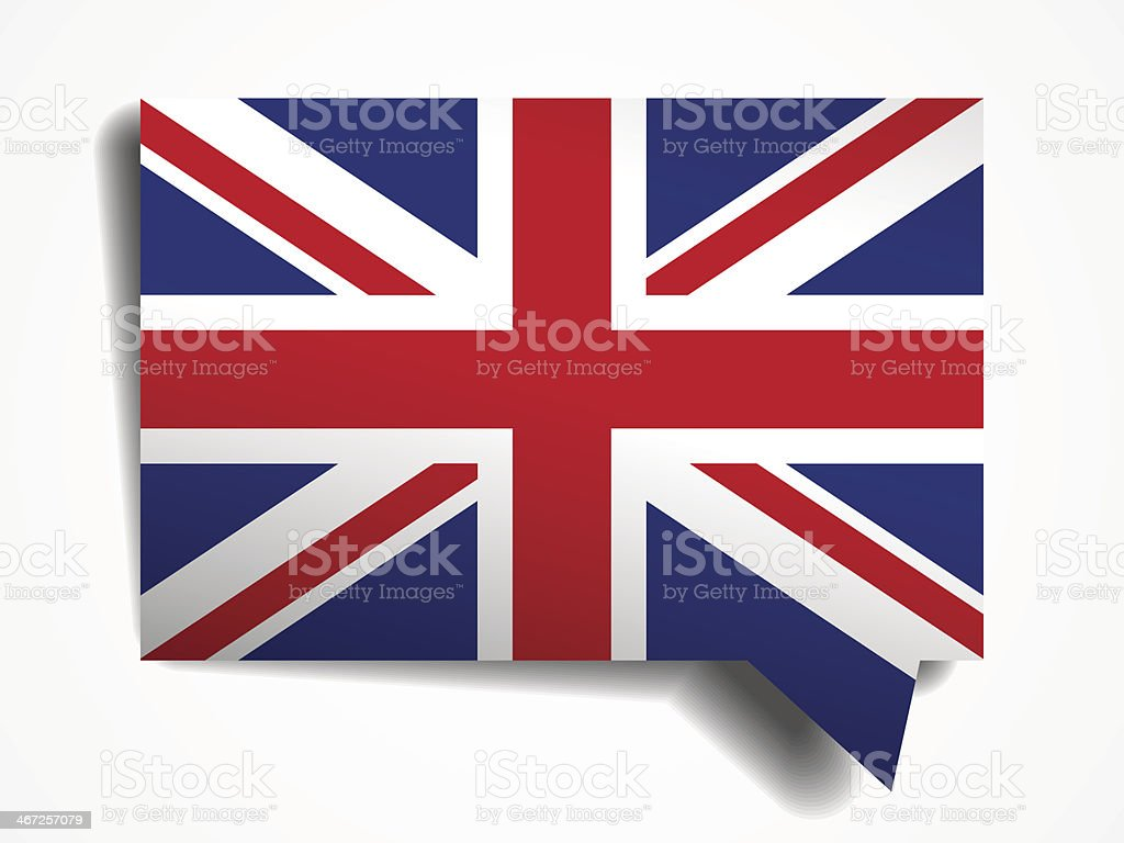 Square thought bubble with the United Kingdom flag inside vector art illustration