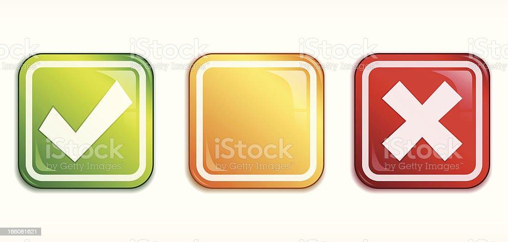 Square Tick/Cross badge set royalty-free stock vector art