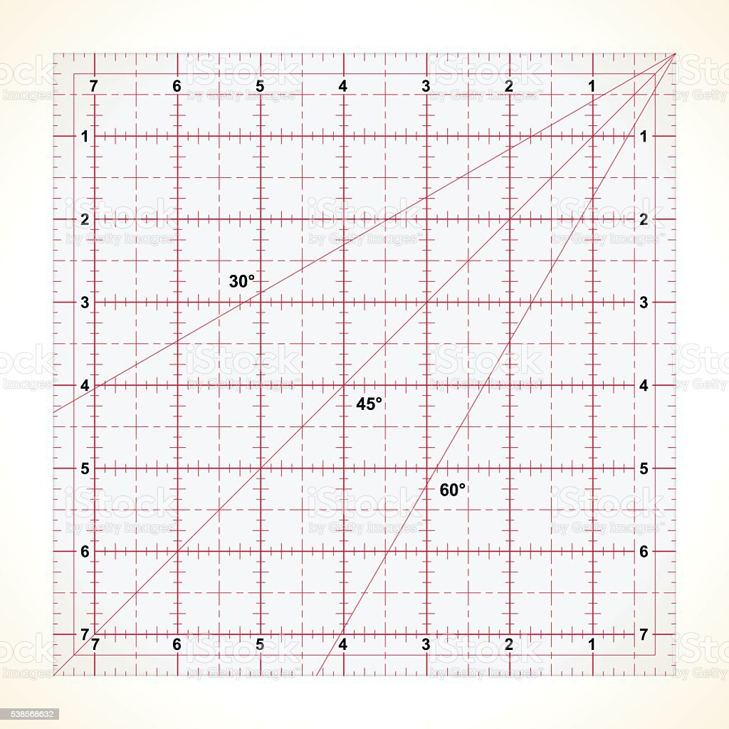 Square transparent ruler for quilting vector art illustration