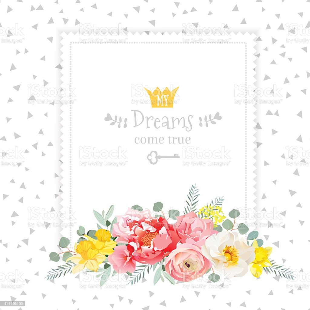 Square vector design frame with bouquet of wild rose vector art illustration