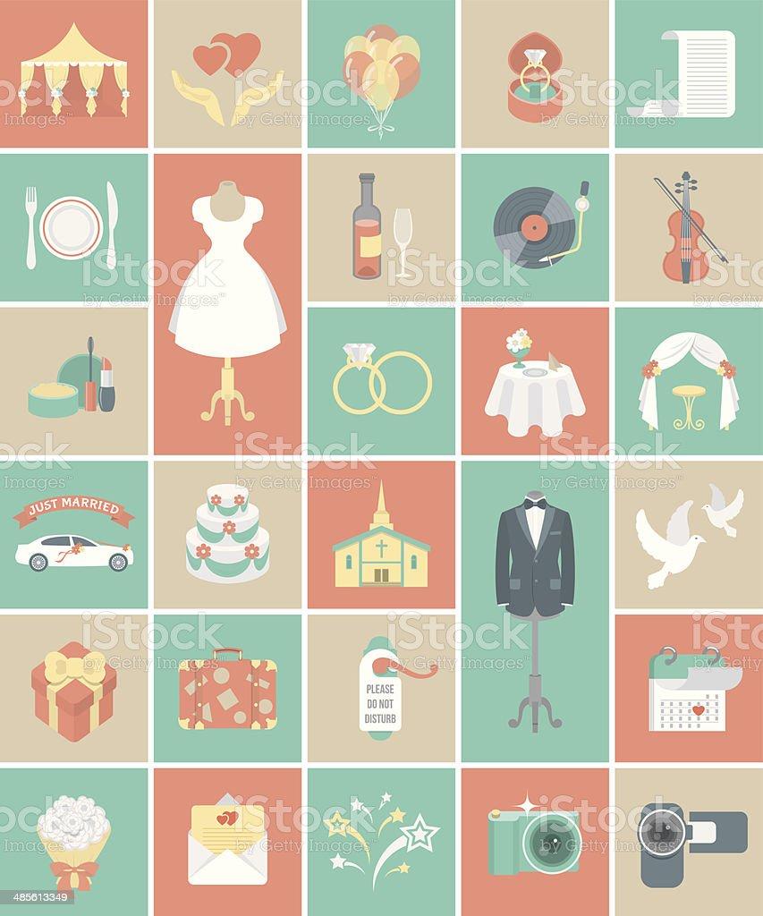 Square Wedding Icons vector art illustration