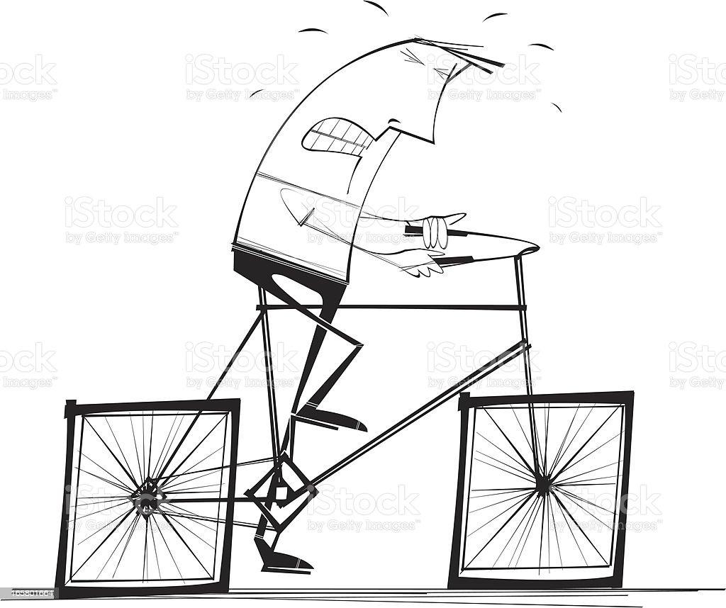 Square Wheeled Bicyle vector art illustration