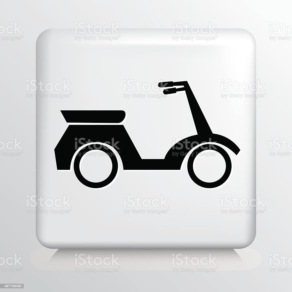 Square White Icon With Silhouette Motorized Silhouette Scooter vector art illustration