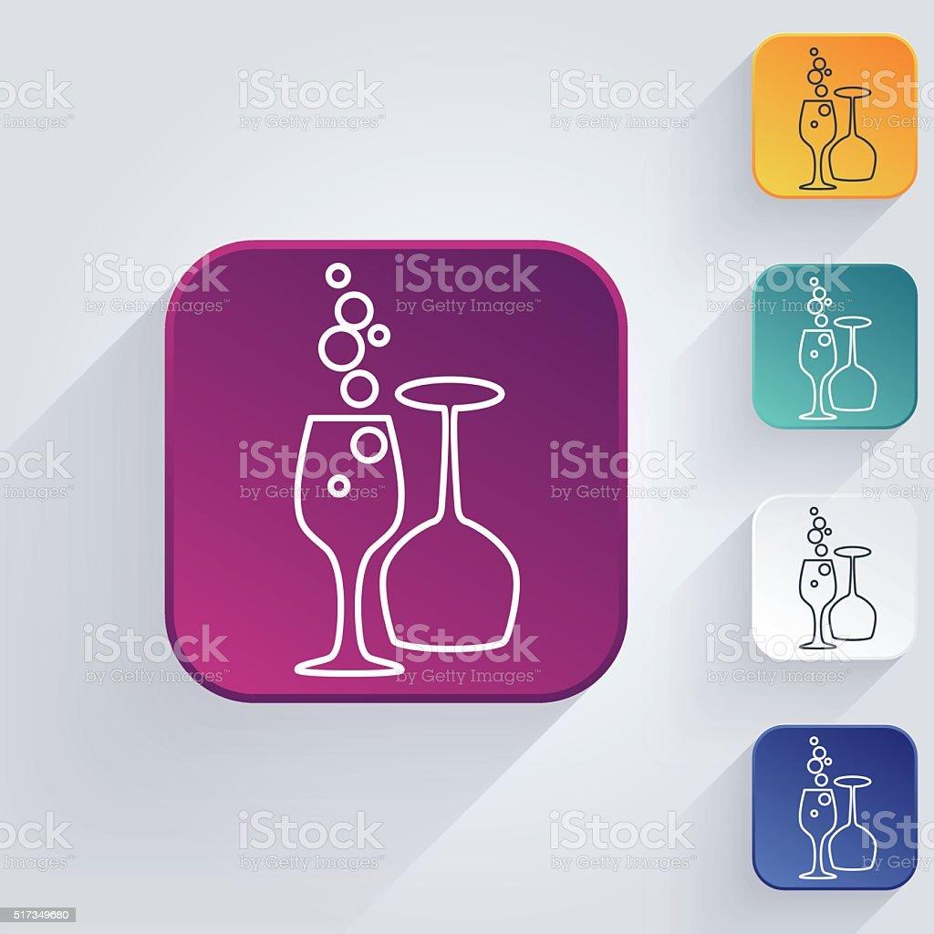 Square Winery Grapes Thin Line Art Icon Set vector art illustration