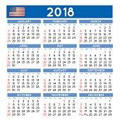 2018 Squared calendar english USA