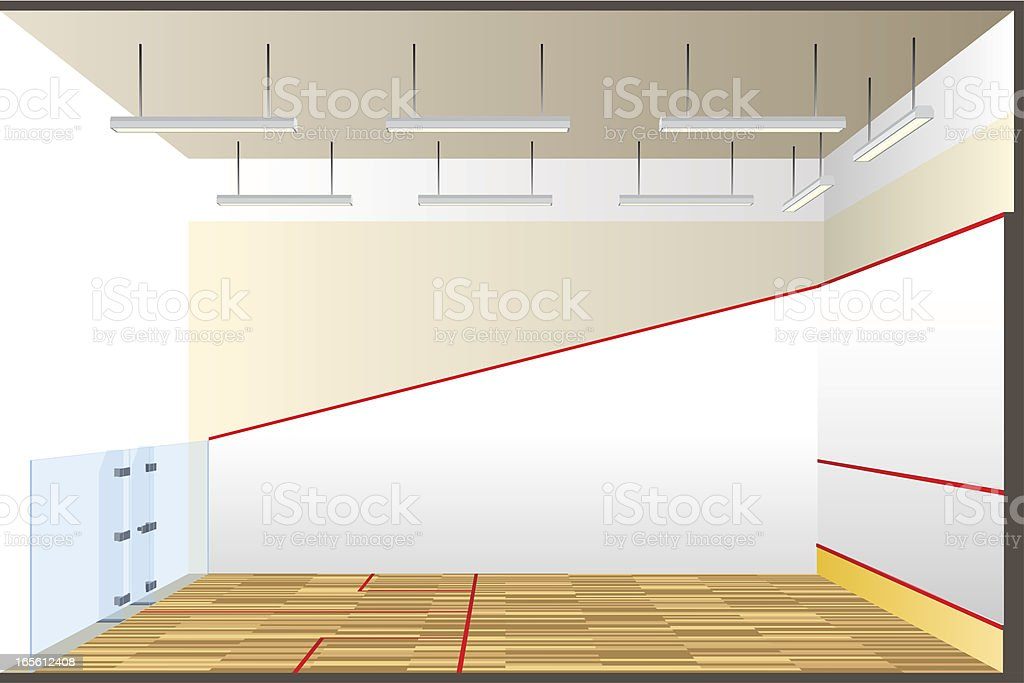 squash court  cross section vector art illustration