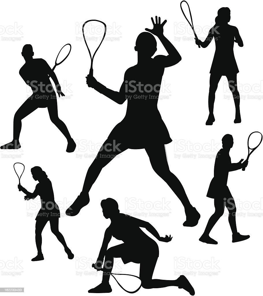 Squash player silhouettes vector art illustration