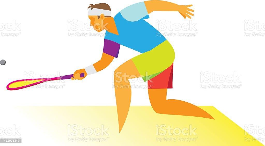 Squash player.Man vector art illustration