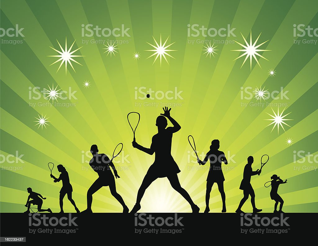 Squash silhouettes abstract vector art illustration