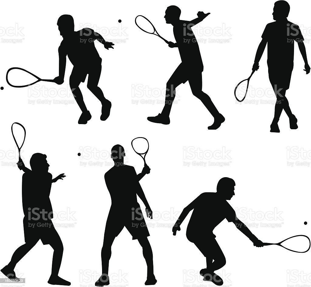 Squash silhouettes royalty-free stock vector art