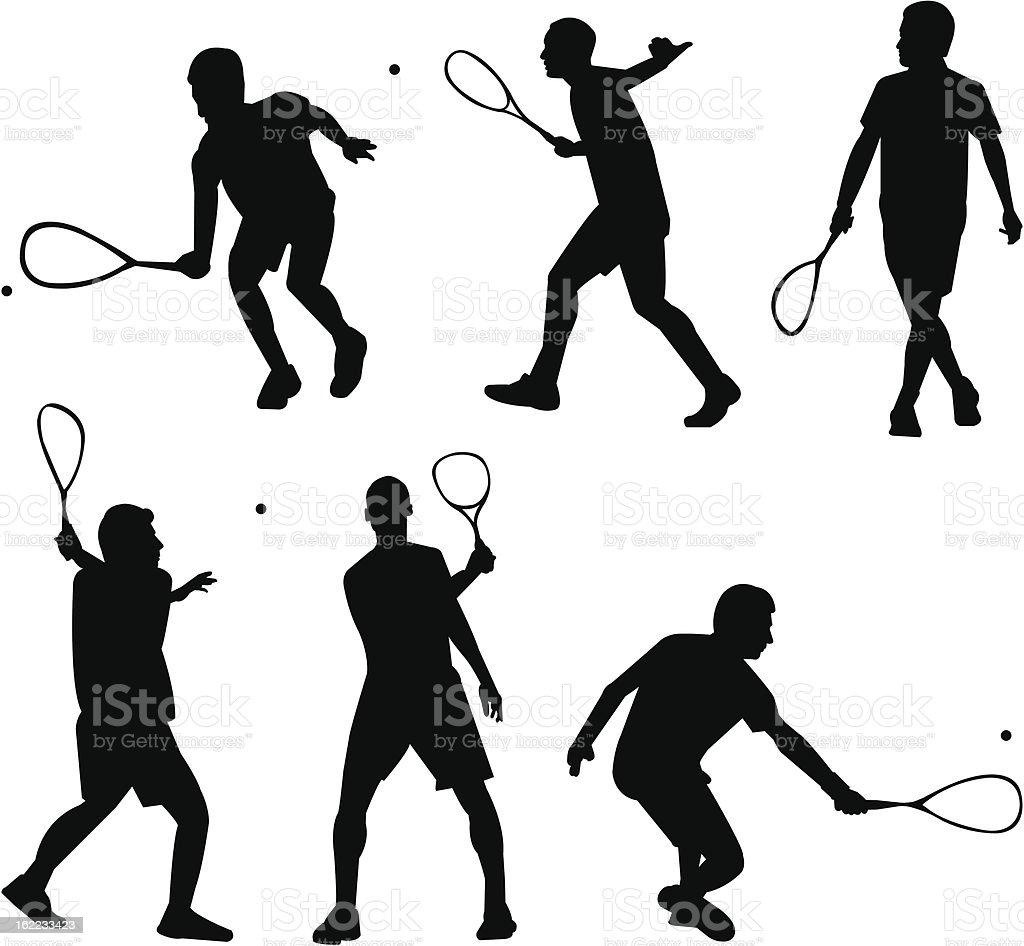 Squash silhouettes vector art illustration