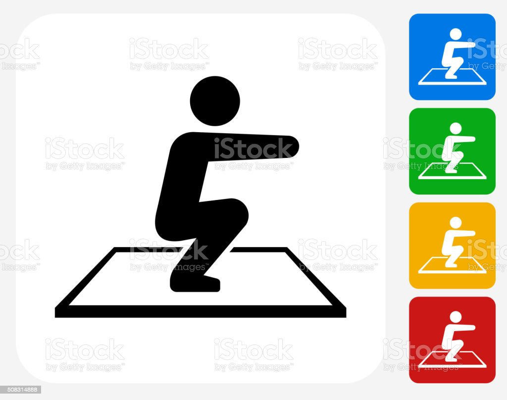 Squat Icon Flat Graphic Design vector art illustration
