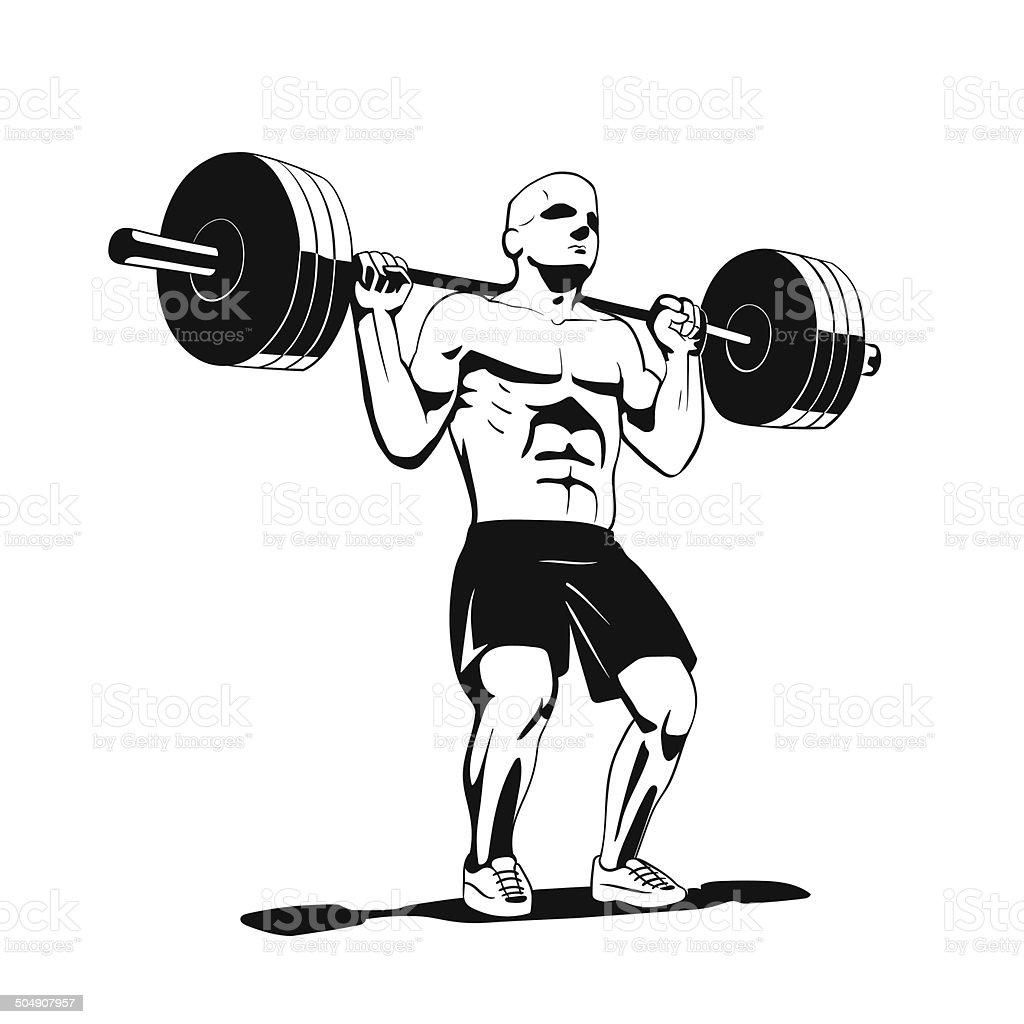squat vector art illustration
