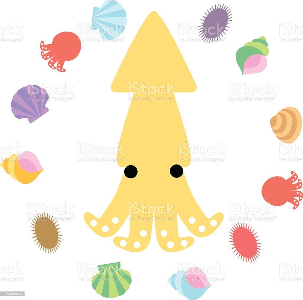 Squid and shellfish of character vector art illustration