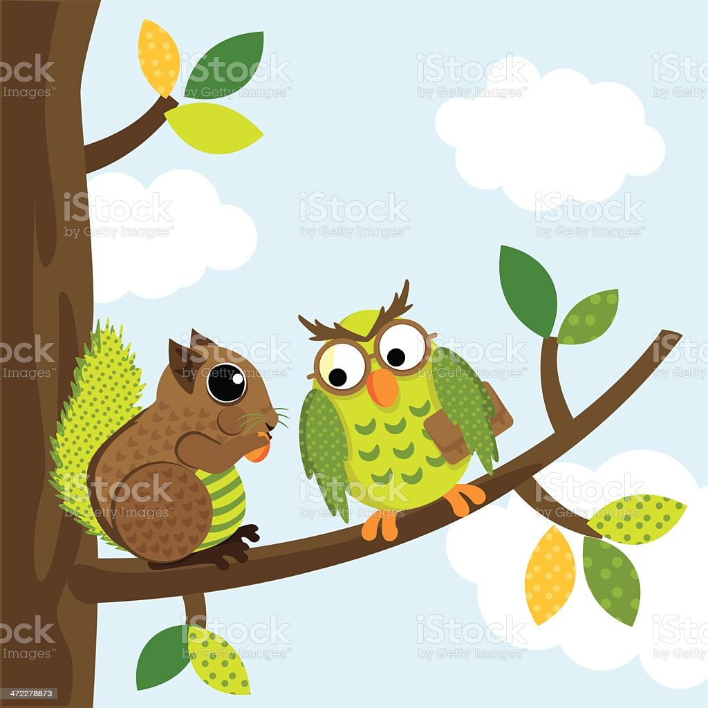 Squirrel and owl chatting vector art illustration