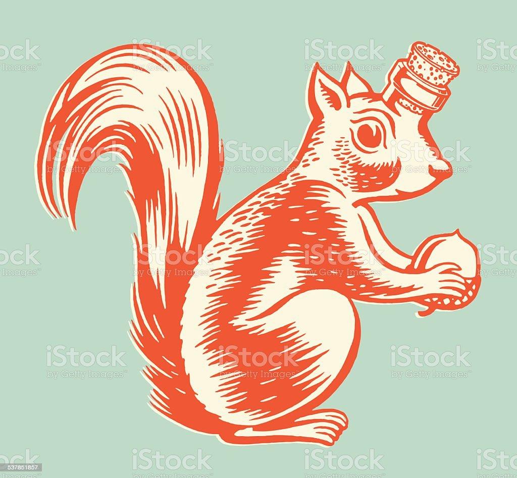 Squirrel Bottle vector art illustration