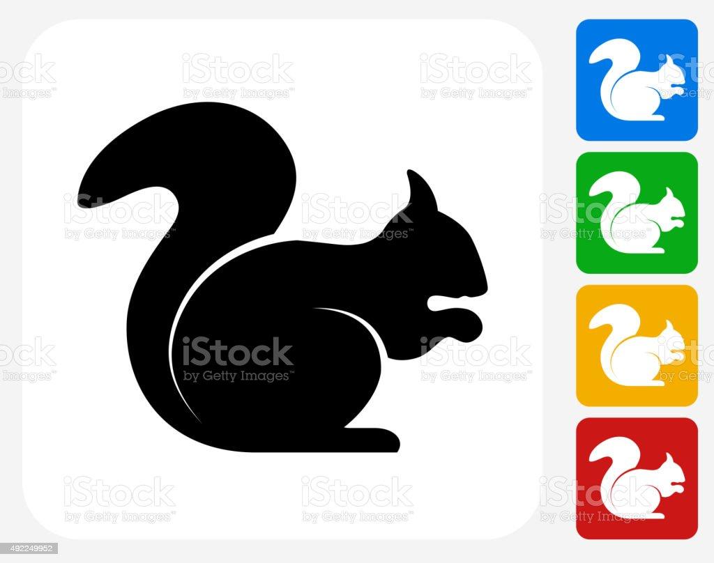 Squirrel Icon Flat Graphic Design vector art illustration
