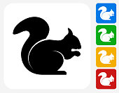 Squirrel Icon Flat Graphic Design