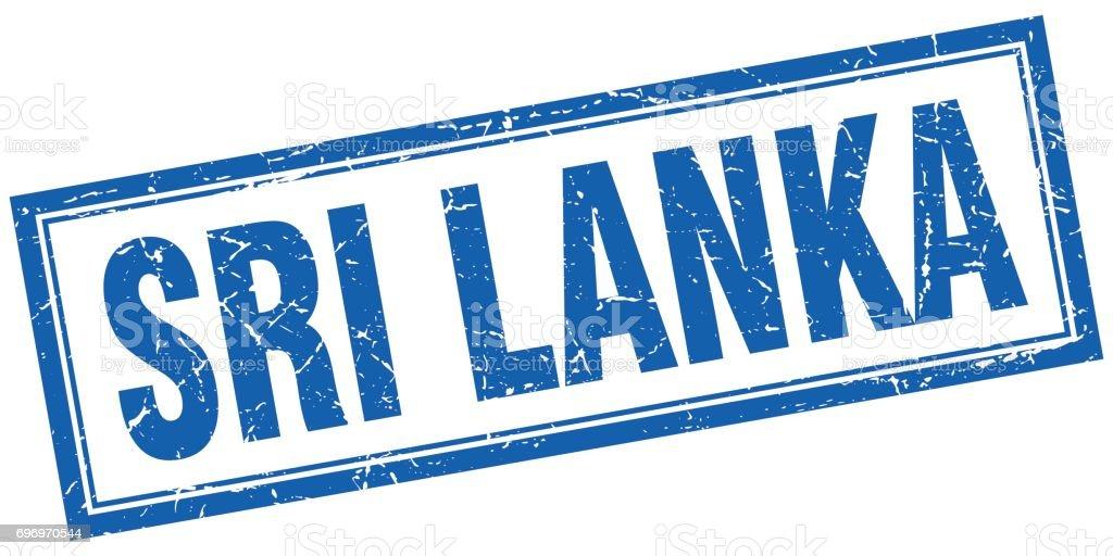 Sri Lanka blue square grunge stamp on white vector art illustration