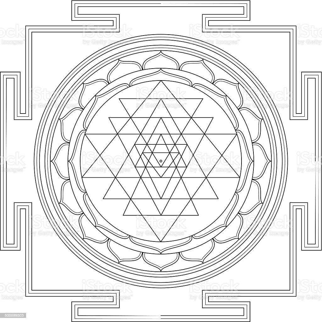 Sri Yantra Mandala (Construction / Line drawing) vector art illustration
