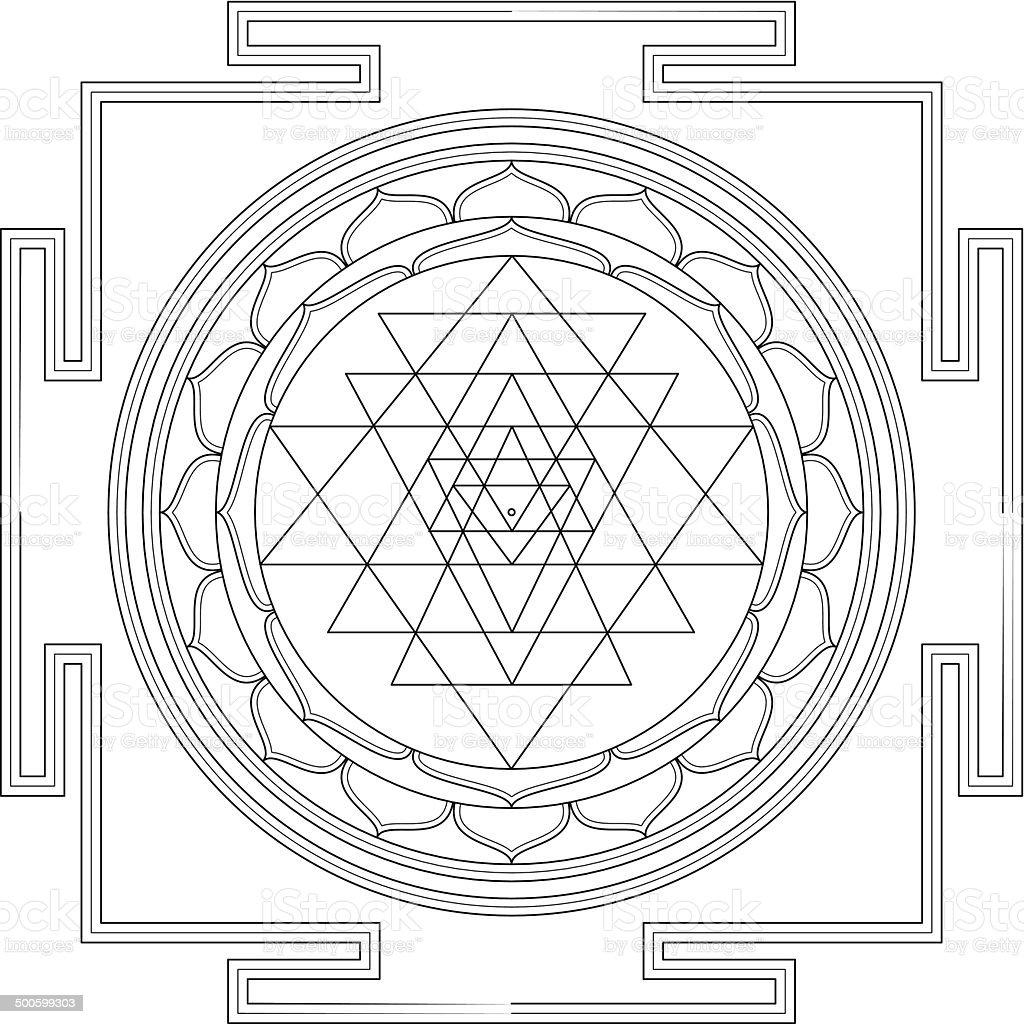Sri Yantra Mandala (Construction / Line drawing) vector art illustration