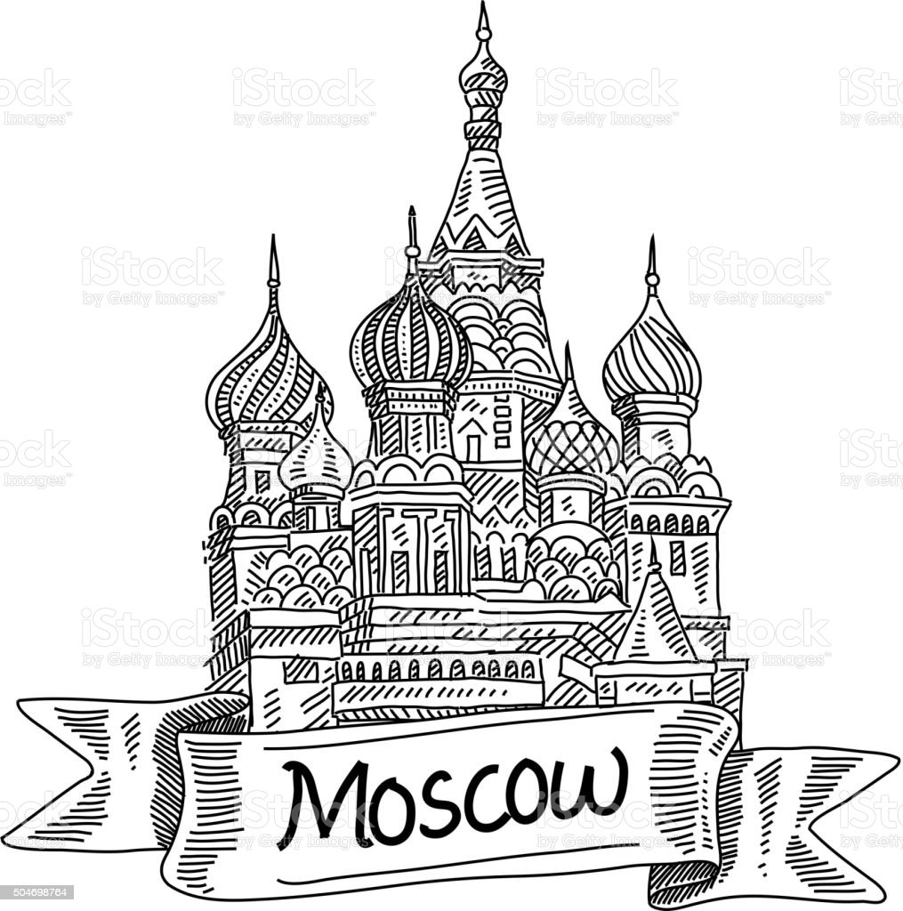 St. Basil Cathedral, Drawing vector art illustration