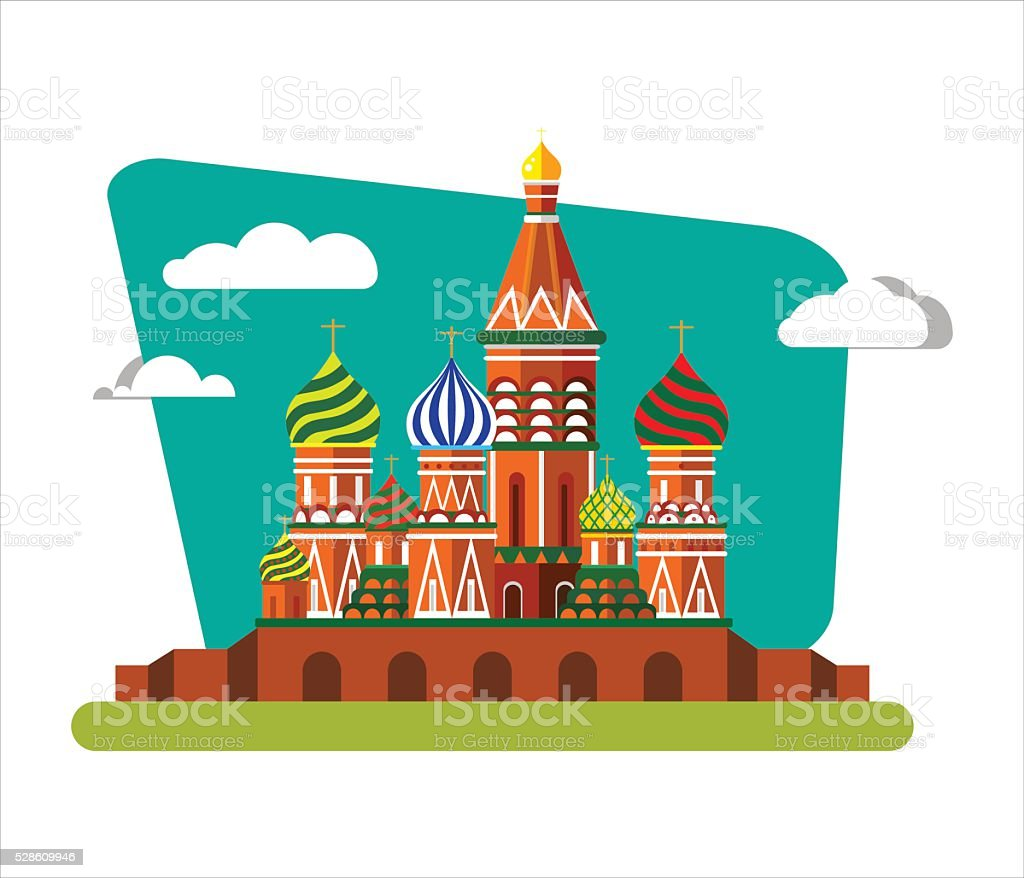 St Basils Cathedral in Russia. vector art illustration