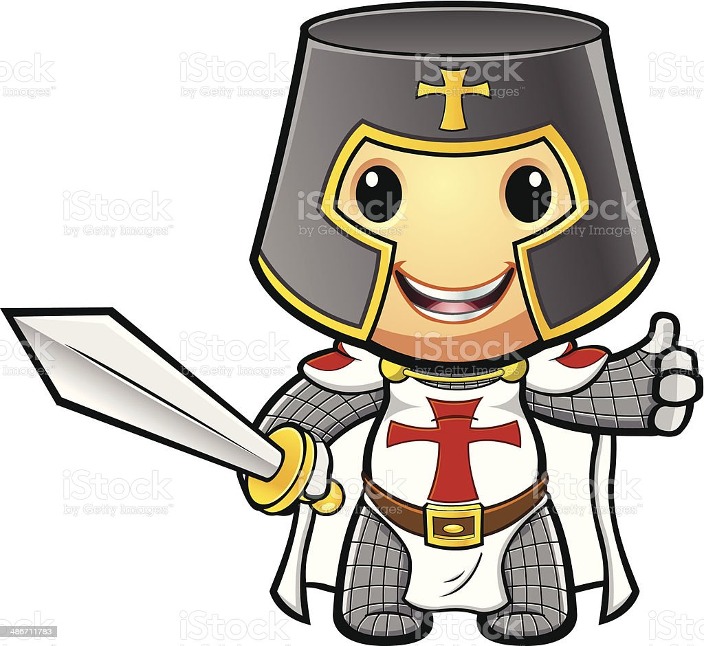 St George Knight Giving Thumbs Up vector art illustration