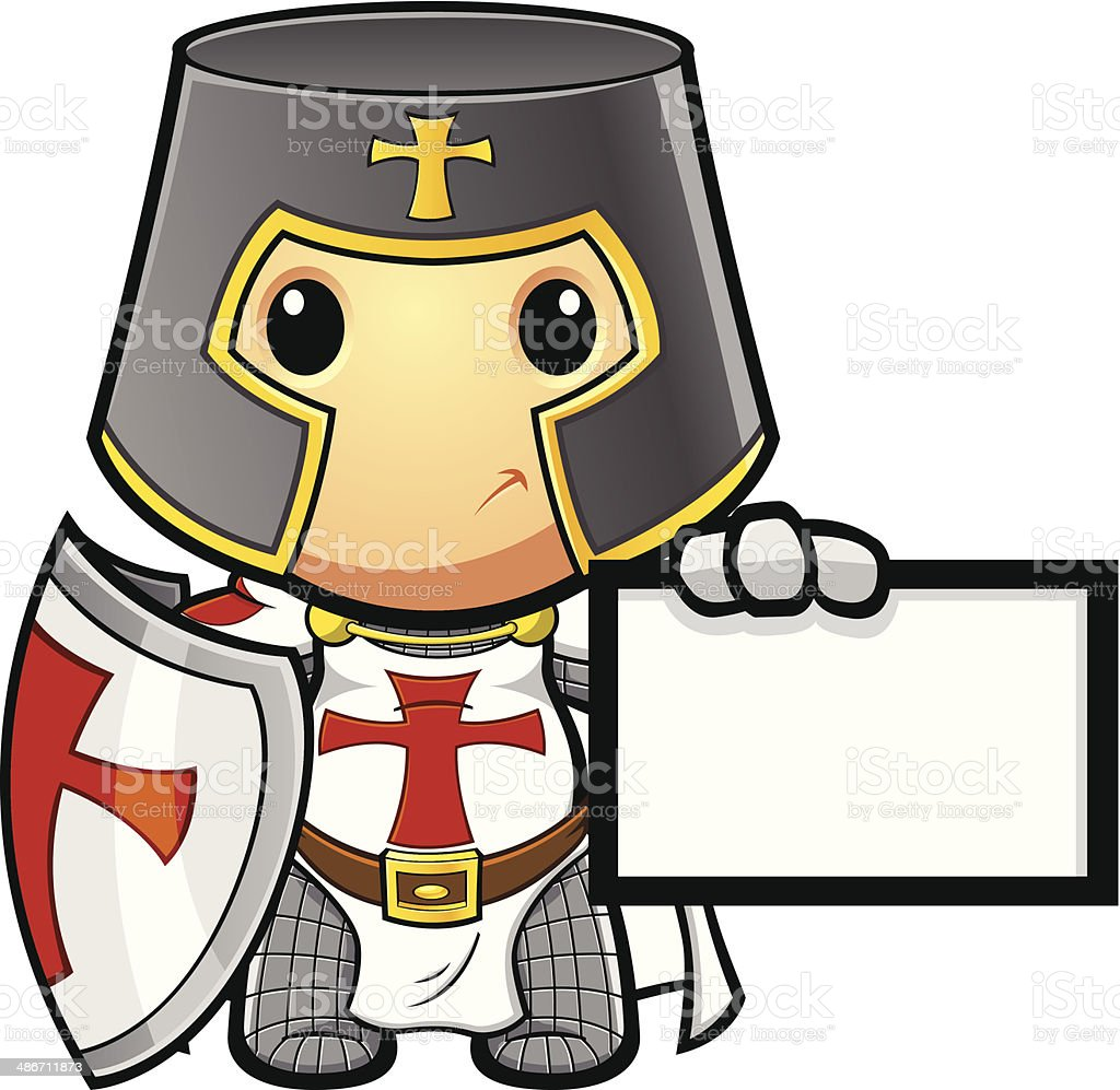 St George Knight Holding Card vector art illustration