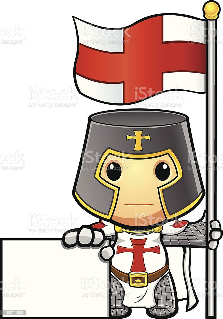 St George Knight Holding Flag A Sign vector art illustration