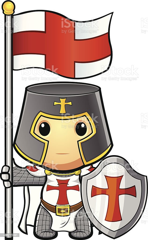St George Knight Holding Flag & Shield vector art illustration