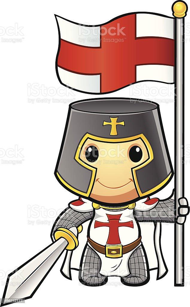 St George Knight Holding Flag & Sword vector art illustration