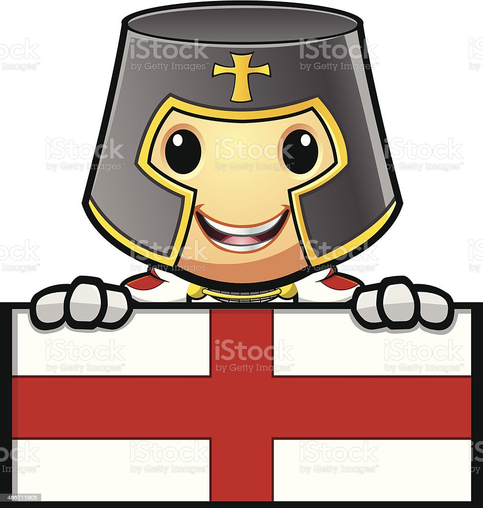 St George Knight Holding Sign With Red Cross vector art illustration