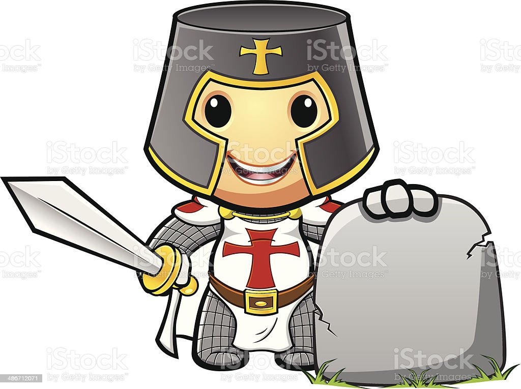 St George Knight Holding Stone Sign vector art illustration