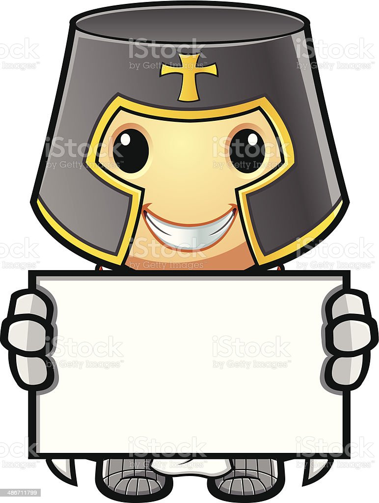 St George Knight Holding Up Blank Sign vector art illustration