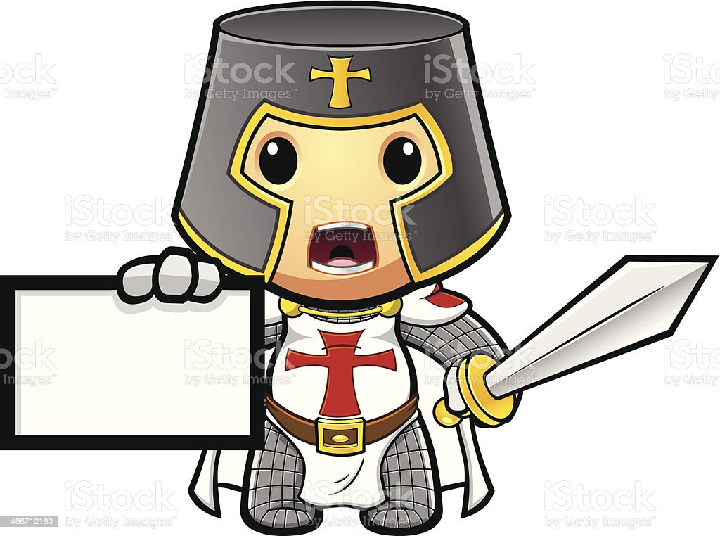 St George Knight Holding Up Card vector art illustration