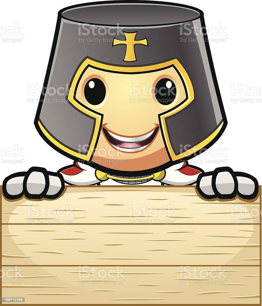 St George Knight Holding Wooden Board vector art illustration