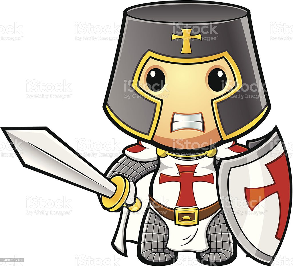 St George Knight Looking Angry vector art illustration