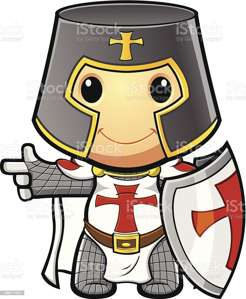 St George Knight Pointing Holding shield vector art illustration