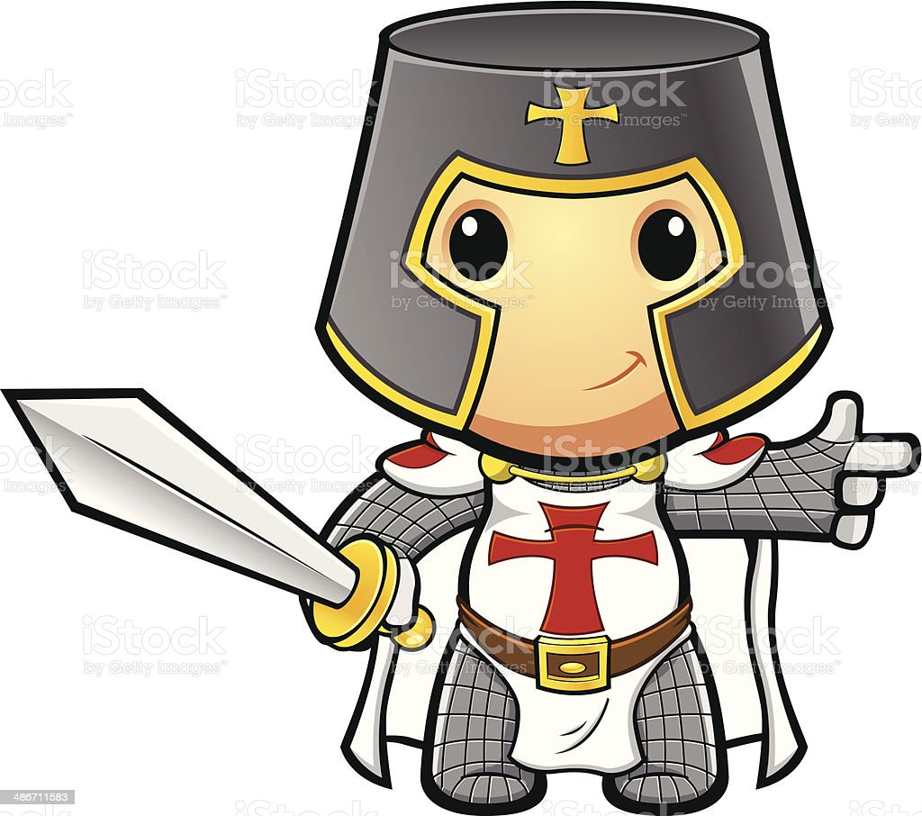 St George Knight Pointing Holding Sword vector art illustration