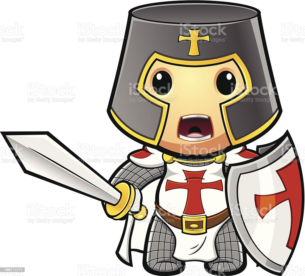 St George Knight Ready To Fight vector art illustration