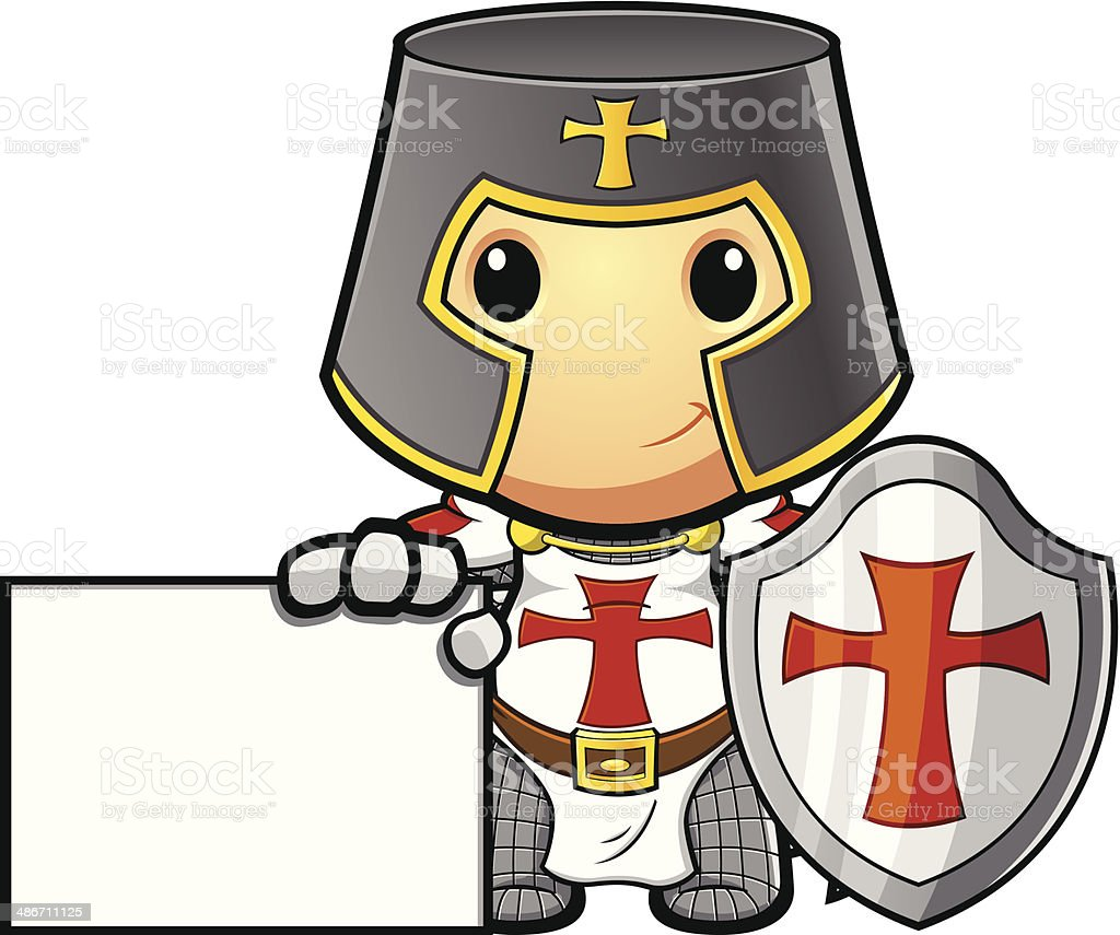 St George Knight With Blank Board vector art illustration