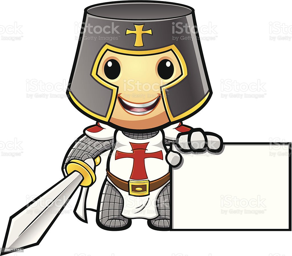 St George Knight With Blank Sign vector art illustration