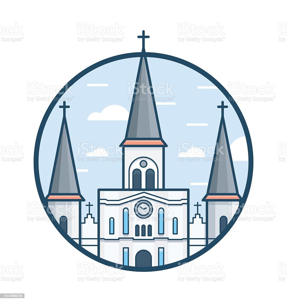 St Louis Cathedral Vector Icon vector art illustration
